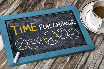 time for change concept hand drawing on chalkboard